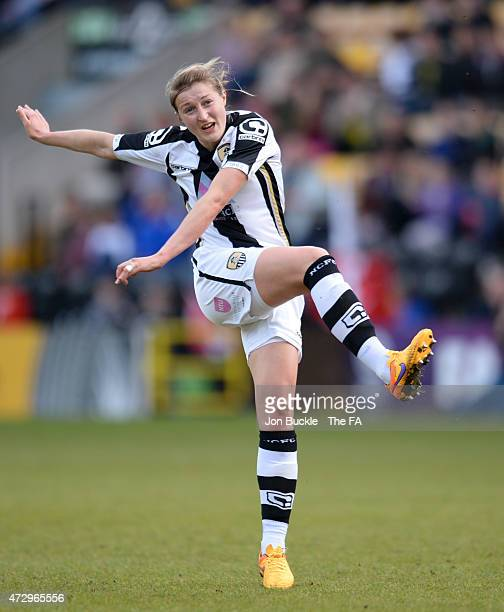 Ellen White of Notts County Ladies FC shoots goal ward during the WSL match between Notts County Ladies and Liverpool Ladies at Meadow Lane on May 10...