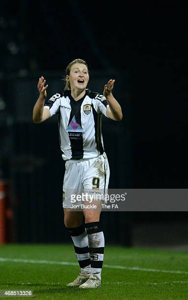 Ellen White of Notts County Ladies FC stands in disbelief after penalty appeal at Meadow Lane on April 2 2015 in Nottingham England