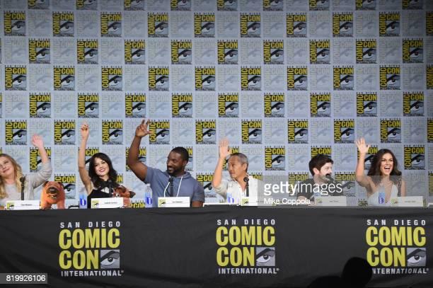 Ellen Woglom Isabelle Cornish Eme Ikwuakor Ken Leung Iwan Rheon and Serindo Swan onstage at Marvel Television Marvel's 'Inhumans' panel at San Diego...