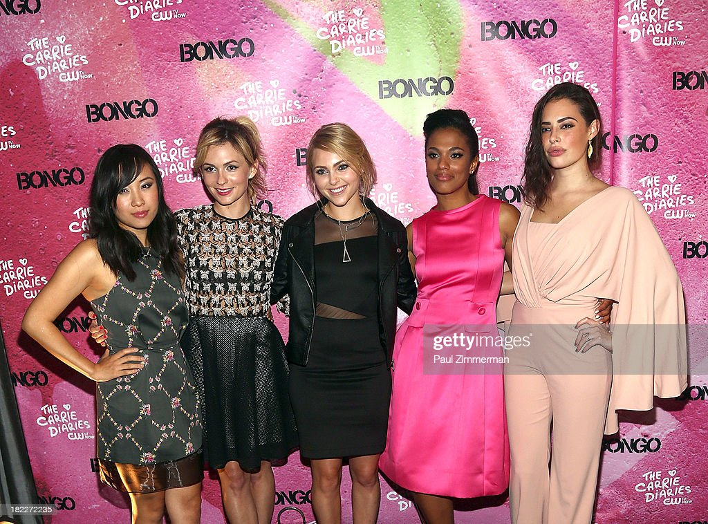 Ellen Wong, Lindsey Gort, AnnaSophia Robb, Freema Agyman and Chloe Bridges attend 'The Carrie Diaries' Season Two Premiere Party at Gansevoort Park Avenue on September 28, 2013 in New York City.