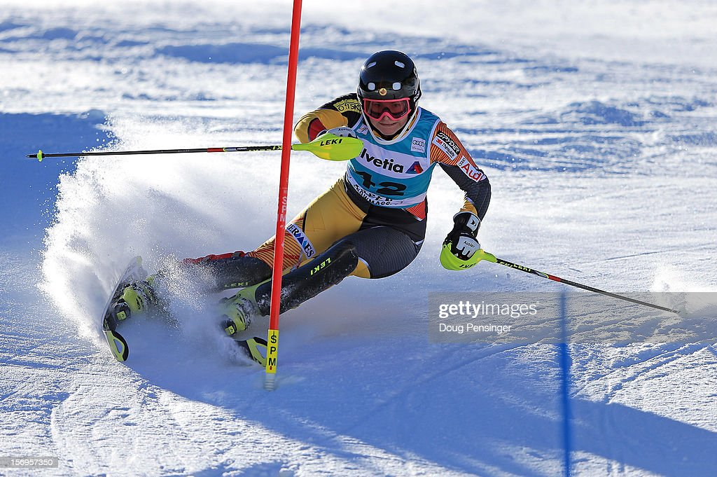 Elli Terwiel of Canada skis the first run of the women's slalom at the Nature Valley Aspen Winternational Audi FIS Ski World Cup at Aspen Mountain on November 25, 2012 in Aspen, Colorado.