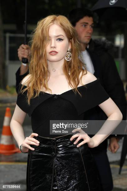 Ellie Bamber arrives at the Chanel Cruise 2017/2018 Collection at Grand Palais on May 3 2017 in Paris France
