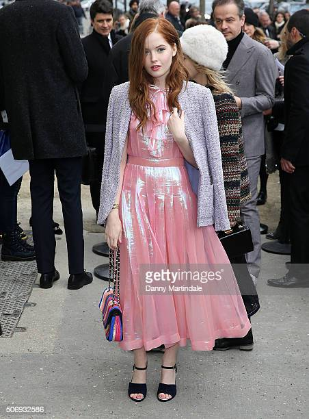 Ellie Bamber arrives at the Chanel Haute Couture Spring Summer 2016 show as part of Paris Fashion Week on January 26 2016 in Paris France
