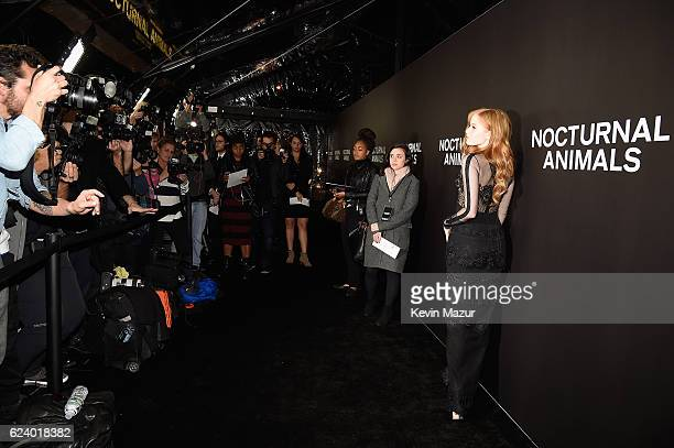 Ellie Bamber attends the New York Premiere of Tom Ford's 'Nocturnal Animals' at The Paris Theatre on November 17 2016 in New York City