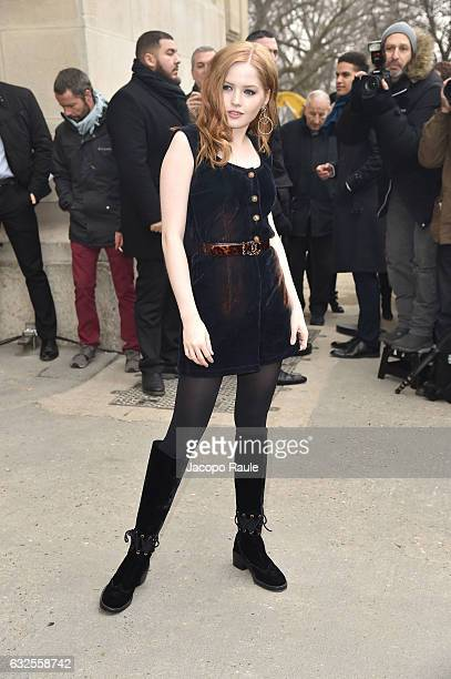 Ellie Bamber is seen leaving the Chanel Fashion Show during Paris Fashion Week Haute Couture F/W 20172018 on January 24 2017 in Paris France