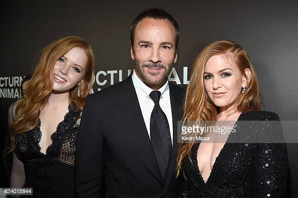 Ellie Bamber Tom Ford and Isla Fisher attend the New York Premiere of Tom Ford's 'Nocturnal Animals' at The Paris Theatre on November 17 2016 in New...