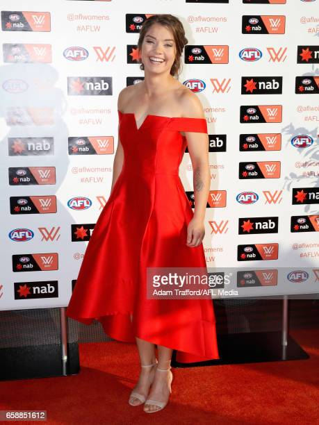 Ellie Blackburn of the Bulldogs arrives during the The W Awards at the Peninsula on March 28 2017 in Melbourne Australia