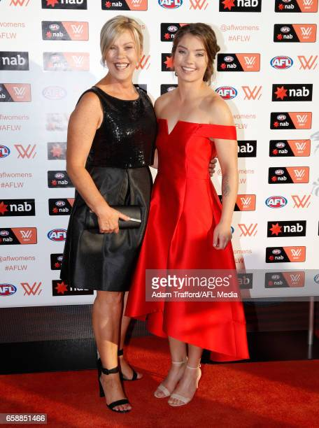 Ellie Blackburn of the Bulldogs arrives with family during the The W Awards at the Peninsula on March 28 2017 in Melbourne Australia
