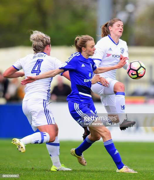 Ellie Brazil of Birmingham City Ladies is challenged by Millie Bright and Maren Mjelde of Chelsea Ladies during the SSE Women's FA Cup SemiFinal...