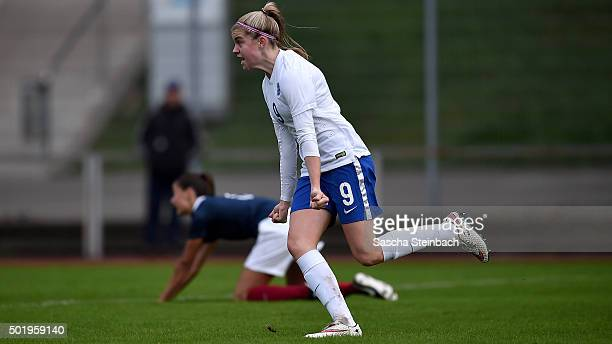 Ellie Brazil of England celebrates after scoring the opening goal during the U17 girl's international friendly match between France and England on...