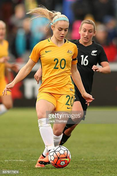 Ellie Carpenter of Australia controls the ball during the women's international friendly match between the Australian Matildas and the New Zealand...