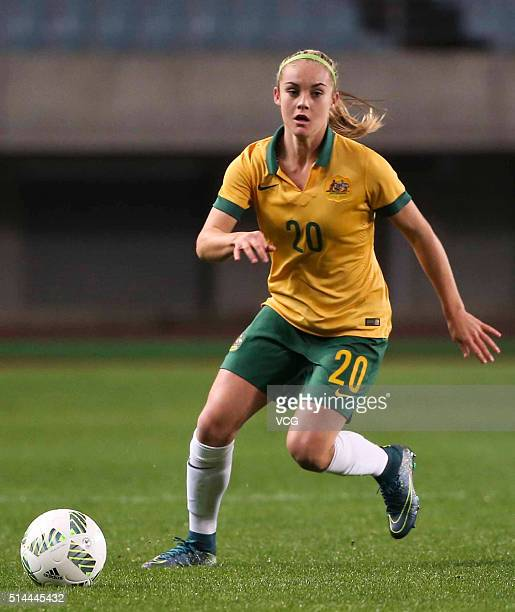 Ellie Carpenter of Australia drives the ball during the AFC Women's Olympic Final Qualification Round match between Australia and China at Yanmar...