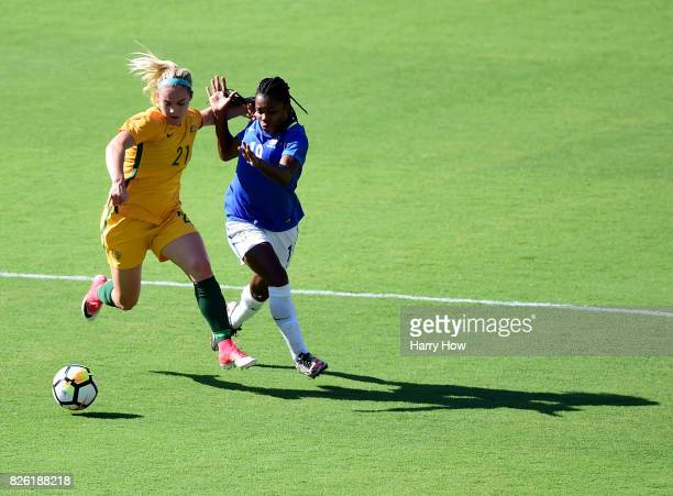 Ellie Carpenter of Australia fends off Ludmila of Brazil during the first half of the 2017 Tournament Of Nations at StubHub Center on August 3 2017...