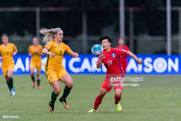 Ellie Carpenter of Australia fights for the ball with Kang Taekyung of South Korea during their AFC U19 Women's Championship 2017 Group Stage B match...