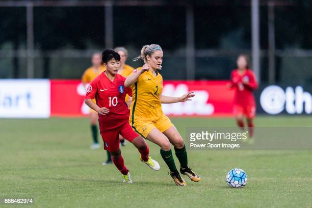 Ellie Carpenter of Australia fights for the ball with Kim Soeun of South Korea during their AFC U19 Women's Championship 2017 Group Stage B match...