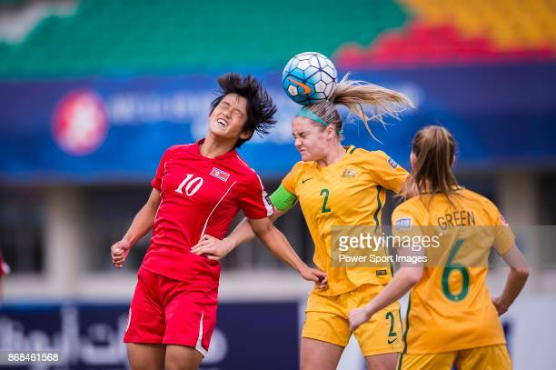 Ellie Carpenter of Australia fights for the ball with Ri Hae Yon of DPR Korea during their AFC U19 Women's Championship 2017 SemiFinals match between...