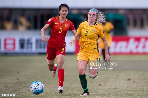 Ellie Carpenter of Australia in action against Chen Qiaozhu of China during their AFC U19 Women's Championship 2017 3rd and 4th placing match between...