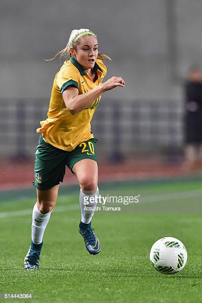 Ellie Carpenter of Australia in action during the AFC Women's Olympic Final Qualification Round match between Australia and China at Yanmar Stadium...