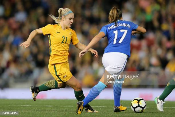 Ellie Carpenter of Australia is tackled by the Brazil defence during the Women's International match between the Australian Matildas and Brazil at...