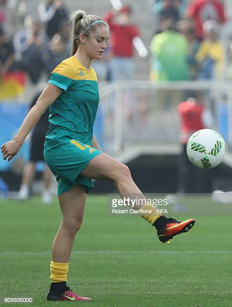 Ellie Carpenter of Australia warms up prior to the Women's First Round Group F match between Canada and Australia at Arena Corinthians on August 3...