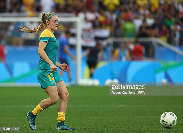 Ellie Carpenter of Australia warms up prior to the Women's First Round Group F match between Germany and Australia on Day 1 of the Rio 2016 Olympic...