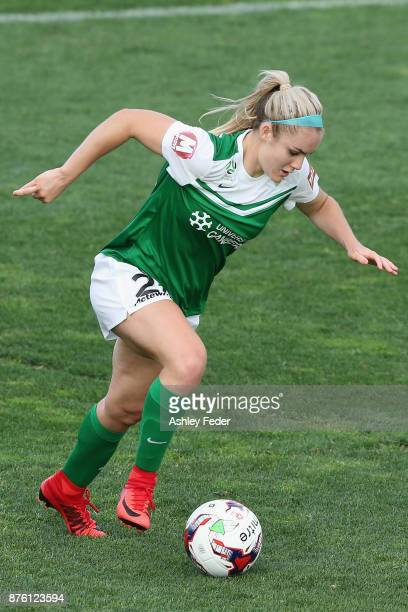 Ellie Carpenter of Camberra United in action during the round four WLeague match between Newcastle and Canberra on November 19 2017 in Newcastle...