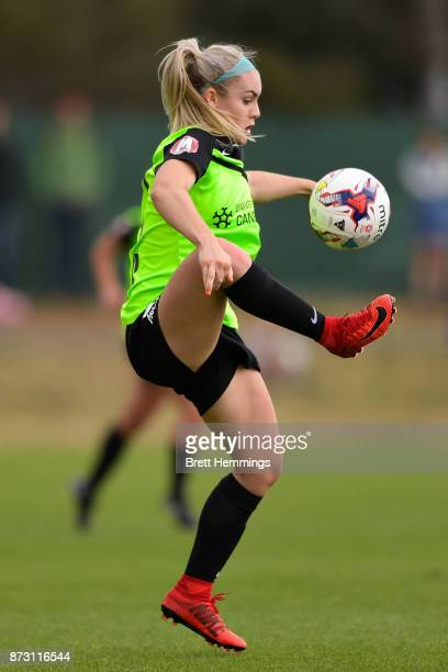 Ellie Carpenter of Canberra controls the ball during the round three WLeague match between Canberra United and Sydney FC at McKellar Park on November...