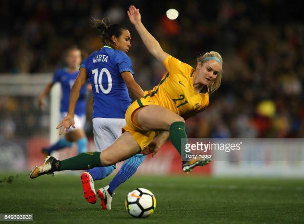 Ellie Carpenter of the Matildas is tackled by Marta Vieira da Silva of Brazil during the Women's International match between the Australian Matildas...