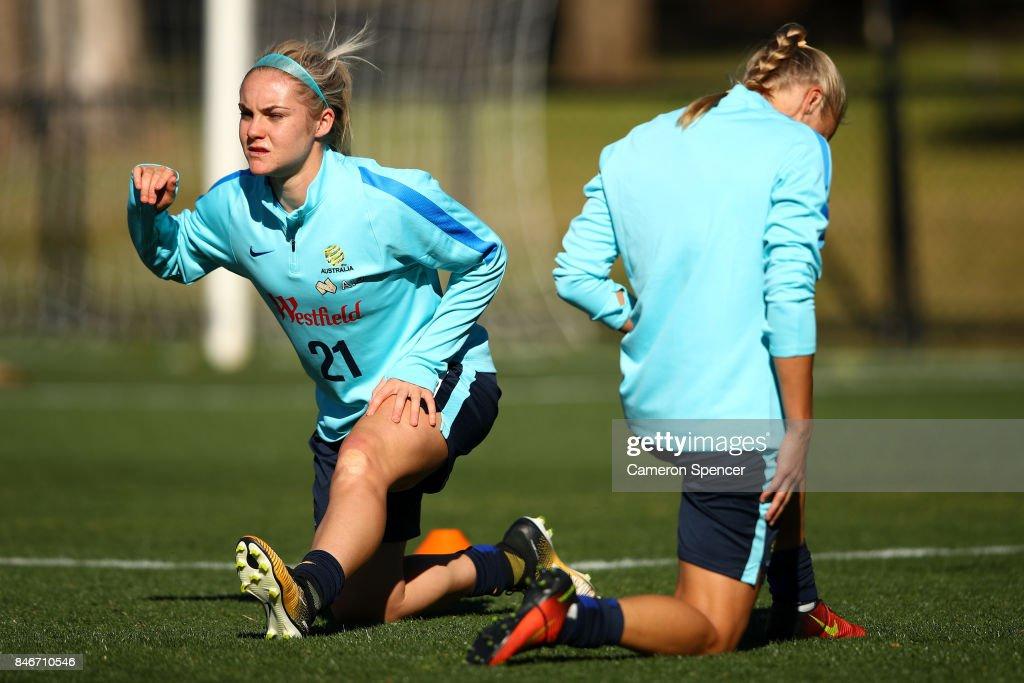 Ellie Carpenter of the Matildas stretches during a Matildas training session on September 14, 2017 in Sydney, Australia.