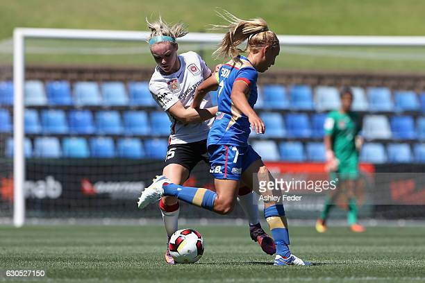Ellie Carpenter of the Wanderers contests the ball against Gema Simon of the Jets during the round eight WLeague match between Newcastle and Western...