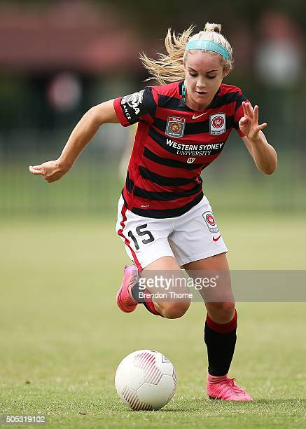 Ellie Carpenter of the Wanderers controls the ball during the round 14 WLeague match between the Western Sydney Wanderers and the Perth Glory at...