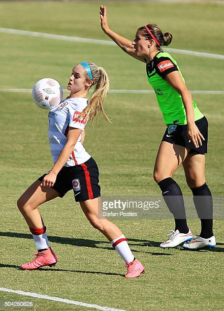 Ellie Carpenter of the Wanderers in action during the round 13 WLeague match between Canberra United and the Western Sydney Wanderers at McKellar...