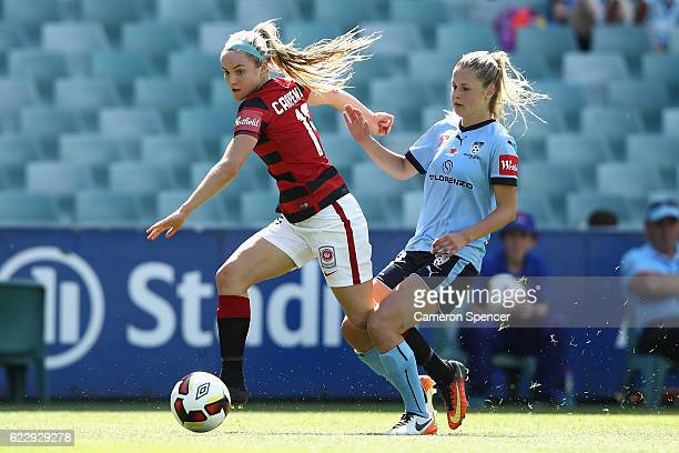Ellie Carpenter of the Wanderers passes during the round two WLeague match between Sydney FC and the Western Sydney Wanderers at Allianz Stadium on...