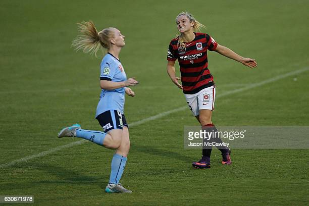 Ellie Carpenter of the Wanderers reacts during the round nine WLeague match between Western Sydney and Sydney at Popondetta Park on December 30 2016...