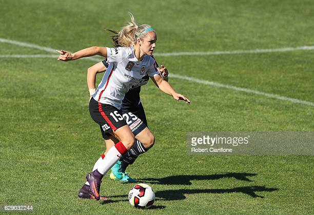 Ellie Carpenter of the Wanderers runs with the ball during the round six WLeague match between Melbourne Victory and Western Sydney Wanderers at...