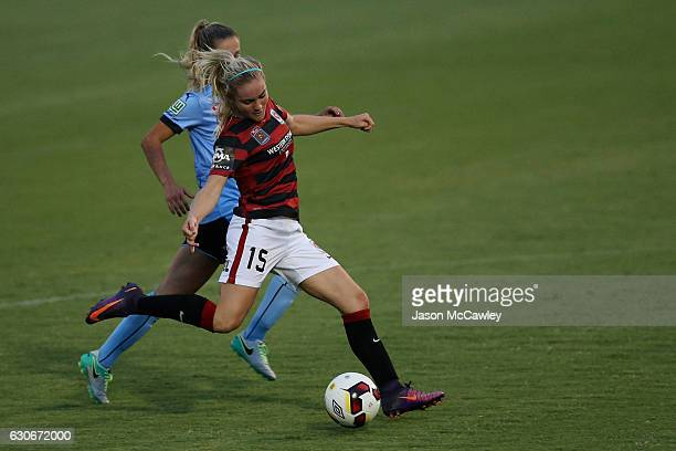 Ellie Carpenter of the Wanderers takes a shot at goal during the round nine WLeague match between Western Sydney and Sydney at Popondetta Park on...