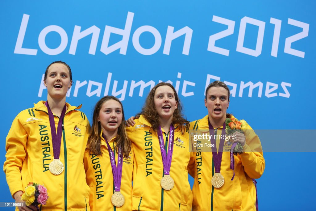 Ellie Cole, Maddison Elliot, Katherine Downie and <a gi-track='captionPersonalityLinkClicked' href=/galleries/search?phrase=Jacqueline+Freney&family=editorial&specificpeople=5524055 ng-click='$event.stopPropagation()'>Jacqueline Freney</a> of Australia pose on the podium during the medal ceremony for the Women's 4x100m Free - 34pts final on day 5 of the London 2012 Paralympic Games at Aquatics Centre on September 3, 2012 in London, England.