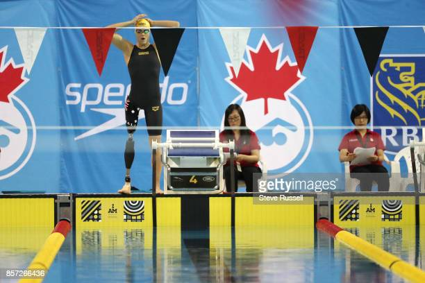 TORONTO ON OCTOBER 3 Ellie Cole of Australia prepares to race in the 100 metre backstroke at the Paraswimming athletes compete in the ParaSwimming...