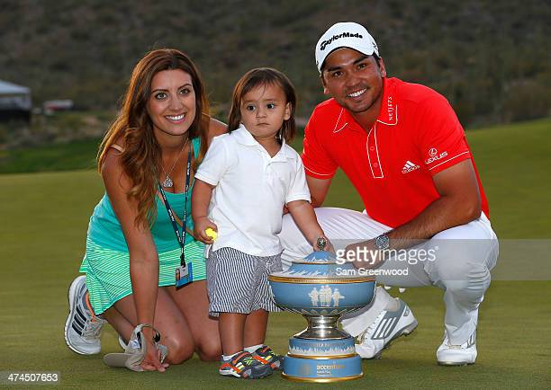 Ellie Day Dash Day and Jason Day of Australia pose with the Walter Hagen Cup after Jason Day defeated Victor Dubuisson of France on the 23rd hole of...