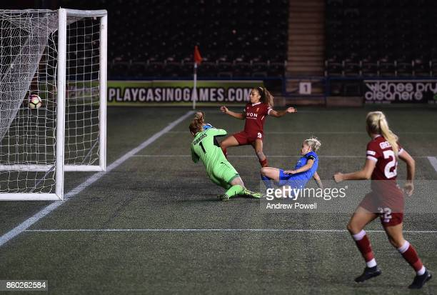 Ellie Gilliatt of Sheffield FC Ladies scores an own goal making the game 30 during the Women's Super League match between Liverpool Ladies and...