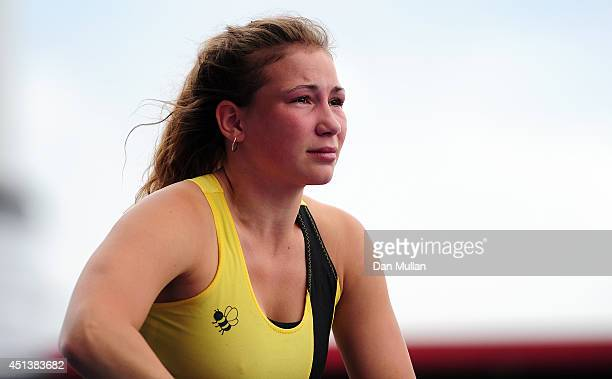 Ellie Gooding reacts after missing a jump during the Women's Pole Vault Final during day two of the Sainsbury's British Championships at Birmingham...