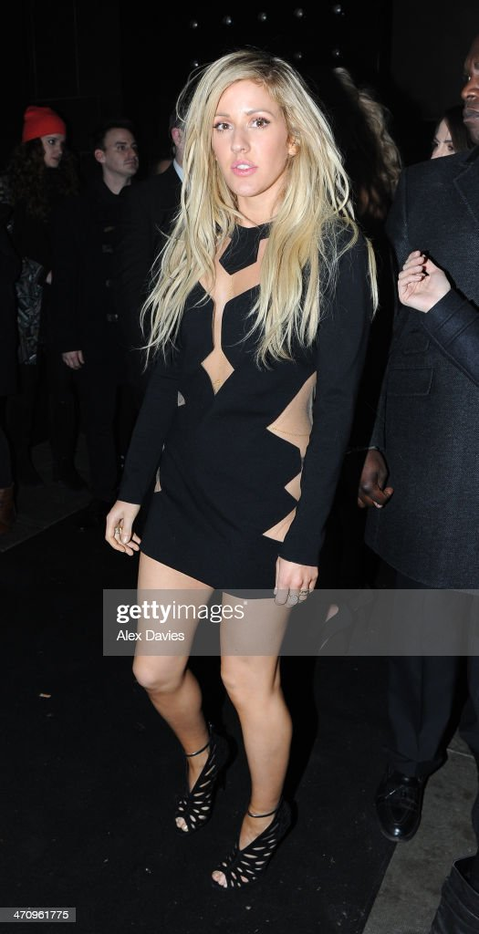 Ellie Gouilding arriving at universal brits afterpary on February 19, 2014 in London, England.