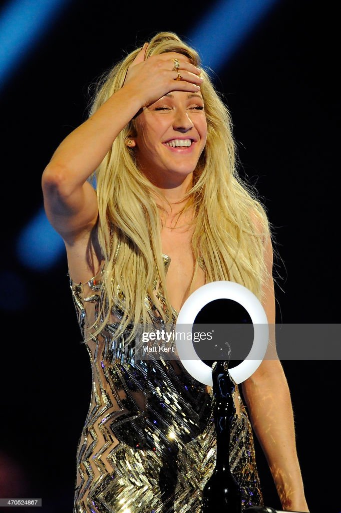 Ellie Goulding accepts the award for British Female Solo Artist at The BRIT Awards 2014 at 02 Arena on February 19, 2014 in London, England.
