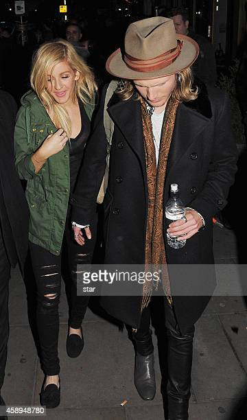 Ellie Goulding and Dougie Poynter are seen leaving the Royal Variety Performance at the Palladium Theatre on November 13 2014 in London England
