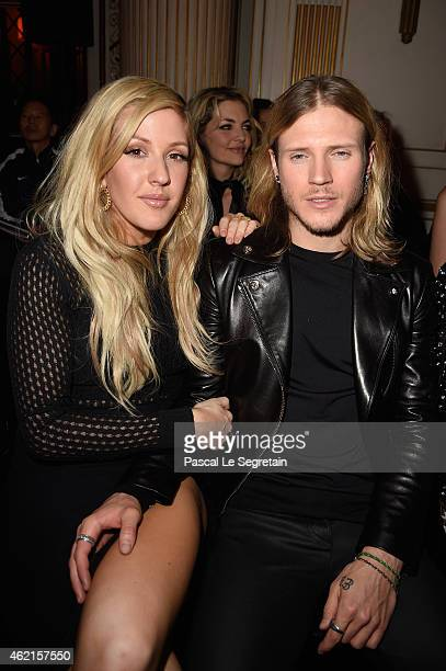 Ellie Goulding and Dougie Poynter attend the Versace show as part of Paris Fashion Week Haute Couture Spring/Summer 2015 on January 25 2015 in Paris...