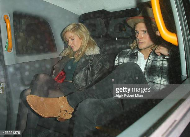 Ellie Goulding and Dougie Poynter leaving the Ivy Club on October 14 2014 in London England
