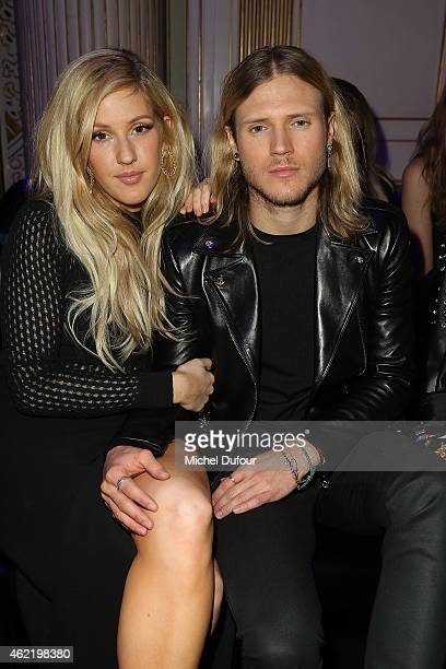 Ellie Goulding and her boyfriend Dougie Poynter attend the Versace show as part of Paris Fashion Week Haute Couture Spring/Summer 2015 on January 25...