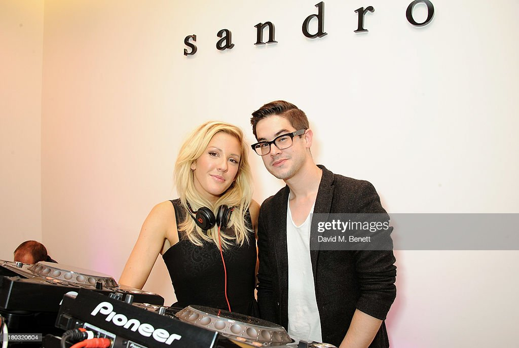 <a gi-track='captionPersonalityLinkClicked' href=/galleries/search?phrase=Ellie+Goulding&family=editorial&specificpeople=6389309 ng-click='$event.stopPropagation()'>Ellie Goulding</a> (L) and Joe Clegg DJ at the Sandro London flagship store launch in Covent Garden on September 11, 2013 in London, England.