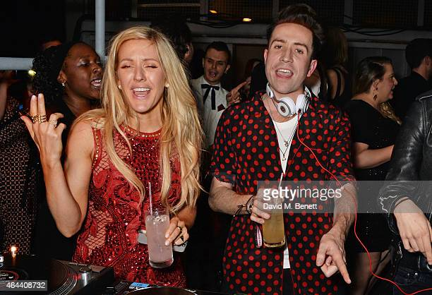 Ellie Goulding and Nick Grimshaw attend the Universal Music Brits party hosted by Bacardi at The Soho House PopUp on February 25 2015 in London...