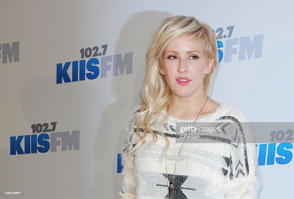 <a gi-track='captionPersonalityLinkClicked' href=/galleries/search?phrase=Ellie+Goulding&family=editorial&specificpeople=6389309 ng-click='$event.stopPropagation()'>Ellie Goulding</a> arrives at the 2012 KIIS FM Jingle Ball at Nokia Theatre LA Live on December 1, 2012 in Los Angeles, California.